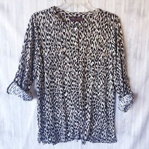 Dana Buchman Animal Print Button Down Blouse